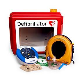 HeartSine Komplettset Defibrillator SAM 350P, beheizbarer Wandkasten, In- und Outdoor