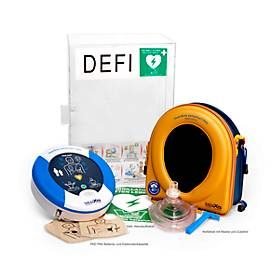 HeartSine Komplettset Defibrillator SAM 360P, mit Plexiglaswandkasten, AED, Indoor
