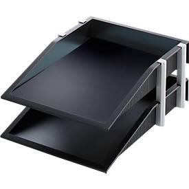 helit Ablagekorb, 2 Ablageschalen in DIN A4, mit Stapelelement, Gummifüßen