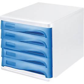 helit Schubladenbox, 5 Schübe, DIN A4, Polypropylen, Gehäuse weiß/Schublade blau