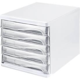 helit Schubladenbox, 5 Schübe, DIN A4, Polypropylen, Gehäuse weiß/Schublade glasklar
