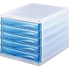 helit Schubladenbox, 5 Schübe, DIN A4, Polypropylen, Gehäuse weiß-transluzent/Schublade blue