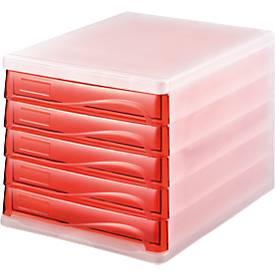 helit Schubladenbox, 5 Schübe, DIN A4, Polypropylen, Gehäuse weiß-transluzent/Schublade