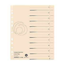 herlitz® Trennblätter, A4, Recycling-Karton, Eurolochung, Registeraufdruck, chamoisgelb, 10 Stück