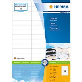 HERMA Etiketten Premium, permanent hechtend, nr. 4459, 70 x 16,9 mm, mat papier, 5100 etiketten/100 vel