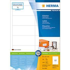 HERMA Etiketten Premium, permanent hechtend, nr. 46236, 97 x 42,3 mm, mat papier, 1200 etiketten/100 vel