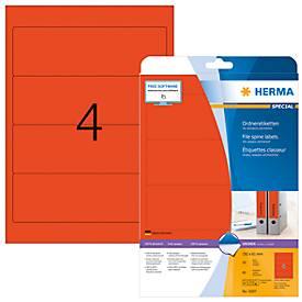 Herma Ordneretiketten A4, 192 mm, permanent haftend/bedruckbar, 80 Stück, rot