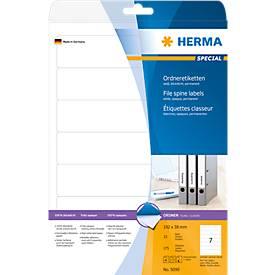 Herma Ordneretiketten A4, Rückenbreite 50 mm, permanent haftend/bedruckbar, 192/ 297 mm lang