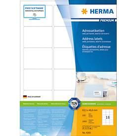 Herma Premium-Adressetiketten Nr. 4265 auf DIN A4-Blättern, permanent haftend
