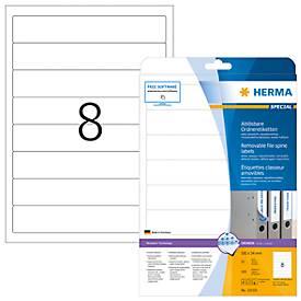Herma Special ordnerrugetiketten voor rug van 50 mm, permanent hechtend, nr. 10150, 34 x 192 mm, 200 etiketten, wit