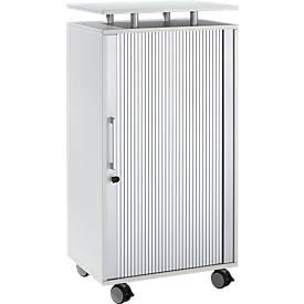Hochcontainer, mit Rollen, abschließbar, B 600 x T 420 x H 1178 mm, lichtgrau