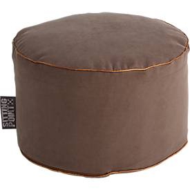 Hocker JAMIE DotCom, Canvasoptik, Ø 500 x H 300 mm, braun