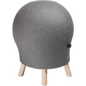 Hocker Sitness Alpine, mit integriertem Gymnastikball, Bezug 75 % Schurwolle, hellgrau