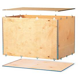 Holzfaltkiste, 6 mm starkes Birkensperrholz, L 380 x B 280 x H 250 mm