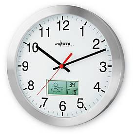 Horloge avec cadran à chiffres et écran LCD pour la météo, Ø 300 mm, pour l'intérieur