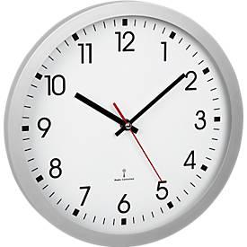 Horloge murale radio pilotée , plastique, fonctionne sur pile