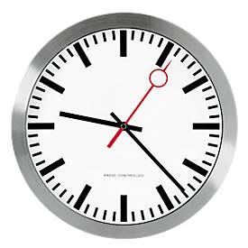 Horloge radio pilotée de gare avec cadran à bâtons,  aiguille rouge à rond creux, Ø 300 mm