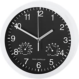 Horloge radio-pilotée L'UNIVERSELLE, avec thermomètre et hygromètre, Ø 400 mm