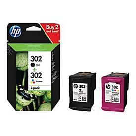 HP 302 - 2er-Pack - Schwarz, farbstoffbasiert dreifarbig - Original - Tintenpatrone