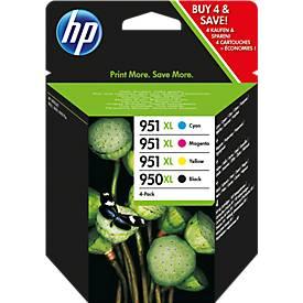 HP cartouches nr. 950/951,  C2P43AE, noir et  couleur, lot éco 4 pièces