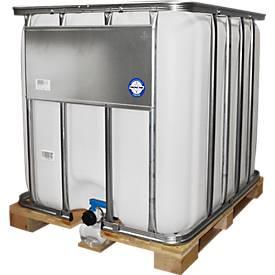 IBC-Tank, Container-Wassertank auf Holzpalette, 1000 L