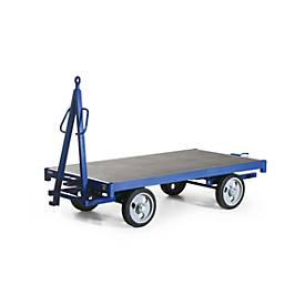 Industrie-Anhänger, Doppel-Drehschemel-Lenkung, Vollgummi-Reifen, 2000 kg