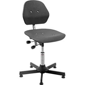 Industrie-bureaustoel Solid, stalen kruisvoet. m. gl., 460-590 mm