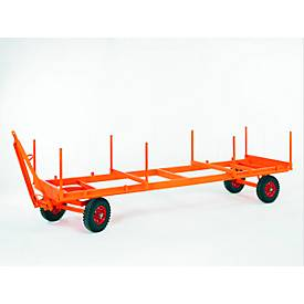 Industriële trailer, 2-assige draaischamelbesturing, massief rubberen banden, draagvermogen 5000 kg, 5000 x 1250 mm.