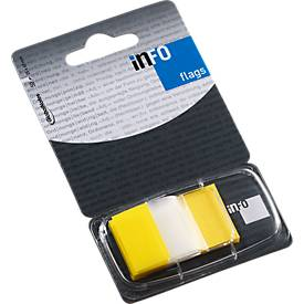 INFO Flags notes, 25 x 43 mm, 50 vel, geel transparant
