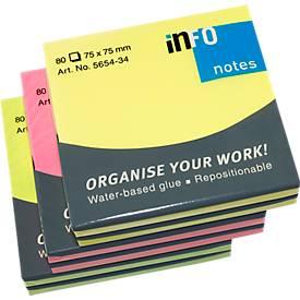 INFO Haftnotizen Brillant, 75 mm x 75mm, 6 x 80 Blatt, gelb, orange, grün