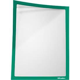 Infotasche, magnetisch, PET-Folie, A4 hoch/quer, grün, 5 Stück
