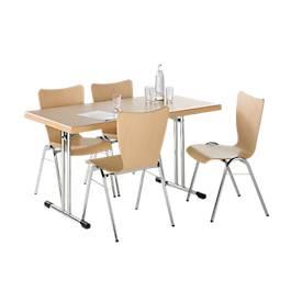Inklapb. tafel 734-14 m. 4 stapelstoelen, compl. aanbieding
