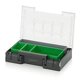 Insteekdozen voor assortimentsdoos 300 x 200 mm, ABS-kunststof, rasterafmetingen 1 x 5, 1 x 2 en 2 x 3, grijs/groen, 4 stuks