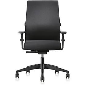 Interstuhl Bürostuhl 139RS, mit Armlehnen, Auto-Synchronmechanik, Komfort-Flachsitz, Hartbodenrollen, schwarz