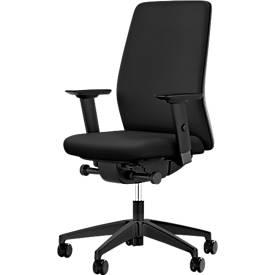 Interstuhl Bürostuhl AIMis1, mit Armlehnen, Synchronmechanik, Flachsitz, inkl. Sitzsensor S 4.0, schwarz/schwarz