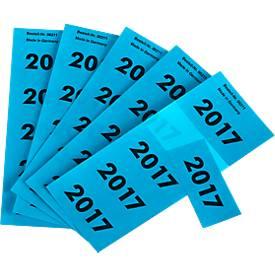 Jaartaletiketten 2017, blauw, 100 stuks
