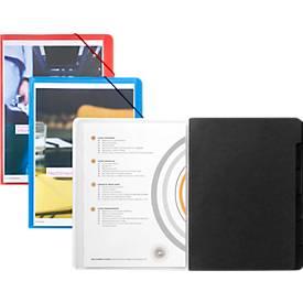 JALEMA Dokumentenmappe, DIN A4, Gummizugverschluss, PP, schwarz