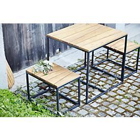 Jan Kurtz Gartenmöbel-Set Alois Mini, 3-teilig, Holz und Stahl