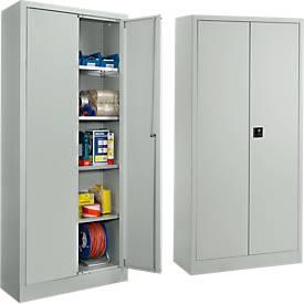 Juego de 2 armarios universales SSI Schaefer, acero, con cerradura, 950 x 400 x 1935 mm, 5 OH, gris claro