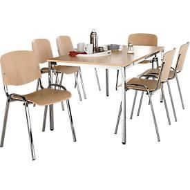 Juego de 6 sillas de madera ISO WOOD con patas cromadas + 1 mesa de 1600 x 800 mm, de haya