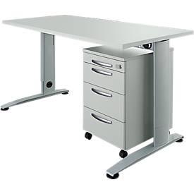 Juego de muebles de oficina, 2 piezas, escritorio con pata en C LOGIN, An 1600mm + archivador con ruedas, 3 cajones, bandeja extraíble utensilios, cierre centralizado, gris luminoso