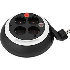 Kabelbox Comfort Line, 4 Schutzkontakt-Steckdosen, prakt. Drehring, Kabellänge 3 m