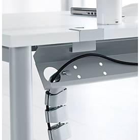 Kabelkanaal, van staal, horizontale plaatsing, openklapbaar, voor tafel met 90°-hoek