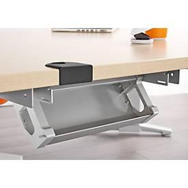 Kabelwanne aus Stahl, 738 mm, weißalu, für Tische ab Breite 800-1200 mm
