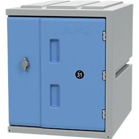 Kast BLOXZ-450, kunststof, draaislot, B 385 x D 470 x H 450 mm, 1 compartiment, 1 compartiment, blauw