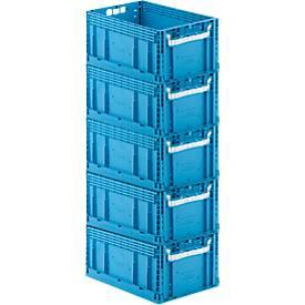 Kasten im EURO-Maß ECT SET, ohne Deckel, 55,8 l, 5 Stück, blau