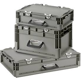 Kasten im EURO-Maß Koffer ELB 4120/4220/6120, SET, mit Deckel, 10,4 l/19,5/22,6 l, grau