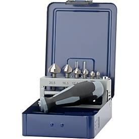 Kegelsenker-Bits in Kassette 6,3 -20,5mm 6tlg.1/4 Inch Sechskant+Bohrpaste