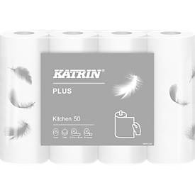Keukenrol KATRIN Plus, wit, 3-laags, 61 vellen per rol, 32 rollen per karton