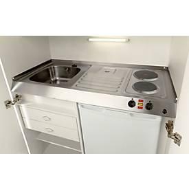 Kitchenette, portes à battant, plaque de cuisson, évier à droite, largeur 1000 mm